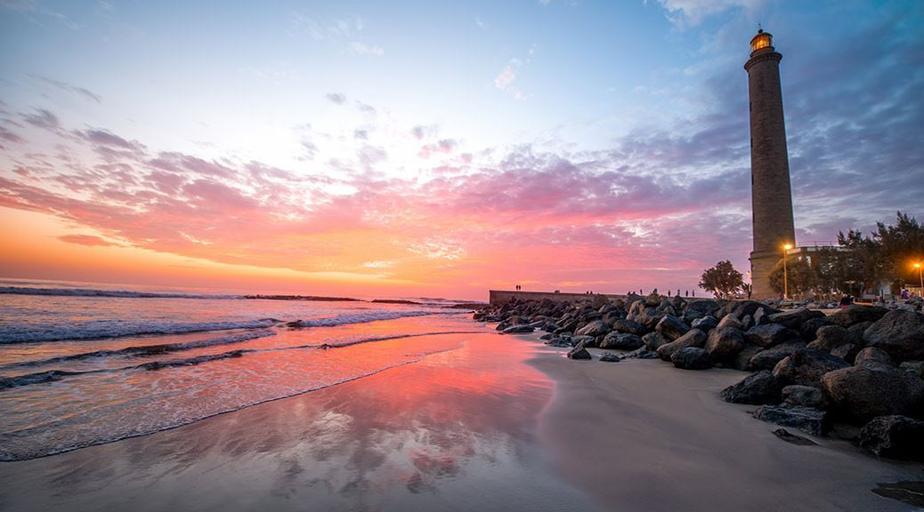 Maspalomas Beach Sunset Lighthouse Sand Sea