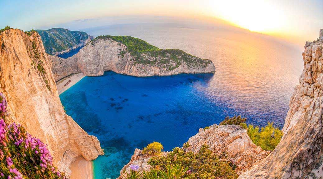 Birdseye View Of Navagio Beach And Shipwreck At Sunset Zante Greece Coast
